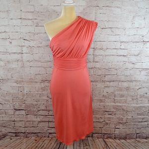 Halston Heritage Coral One Shoulder Fancy Dress C4